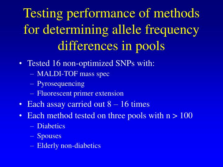 Testing performance of methods for determining allele frequency   differences in pools