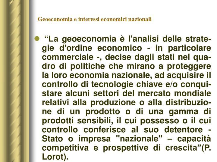 Geoeconomia e interessi economici nazionali