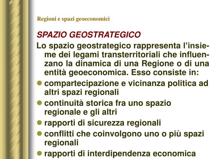Regioni e spazi geoeconomici