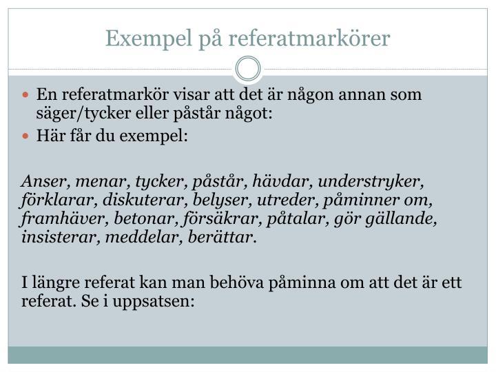 Exempel på referatmarkörer