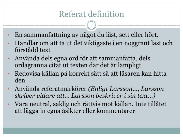 Referat definition