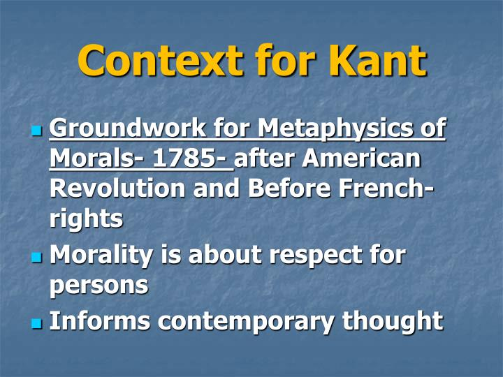 Context for kant