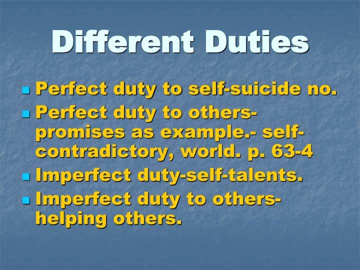 Different Duties
