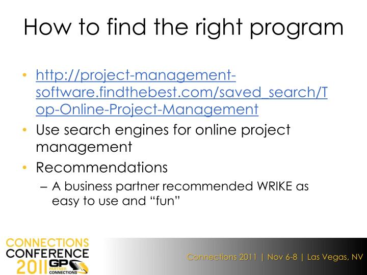 How to find the right program