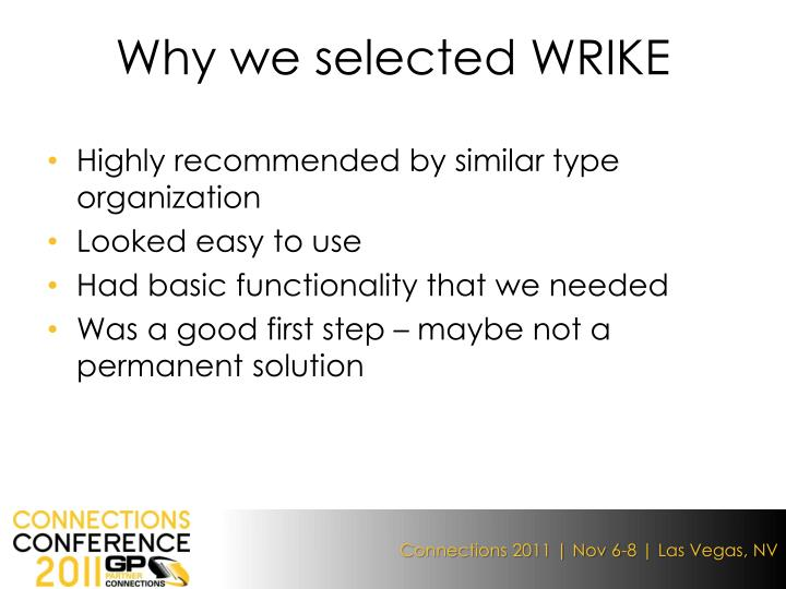 Why we selected WRIKE