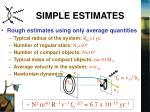 simple estimates