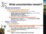 what uncertainties remain