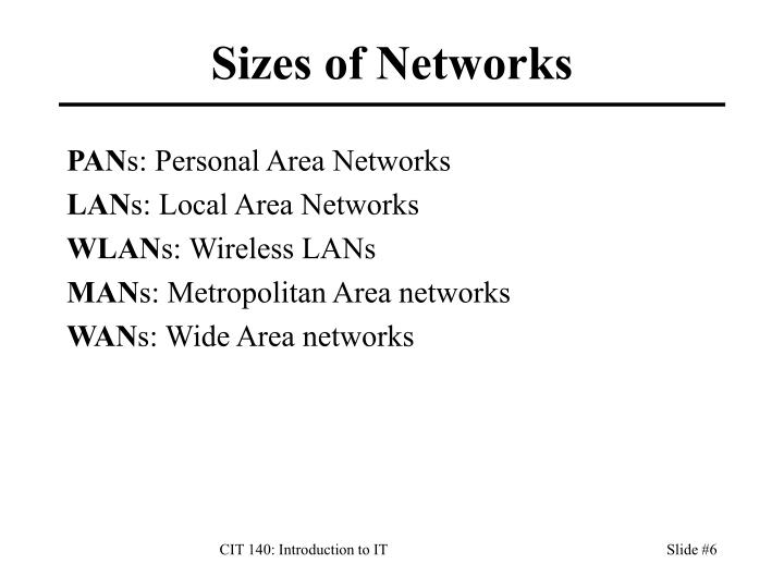Sizes of Networks
