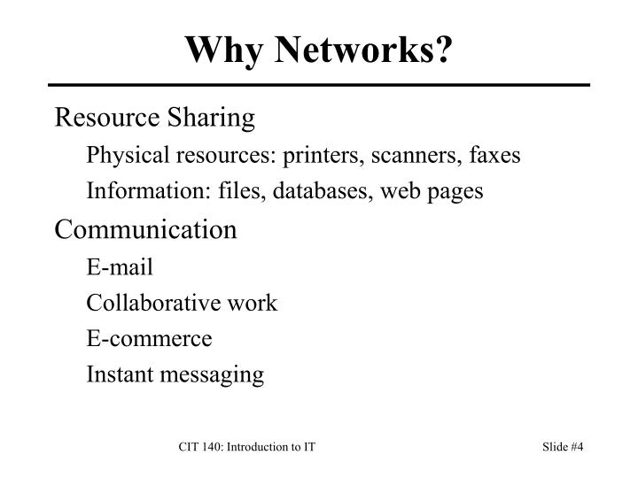 Why Networks?