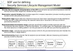 sdf use for defining security services lifecycle management model