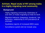 achham nepal study of hiv among males in a highly migrating rural community