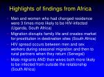 highlights of findings from africa