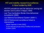 hiv and mobility research surveillance in asia funded by ane