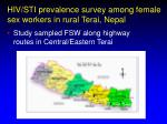 hiv sti prevalence survey among female sex workers in rural terai nepal