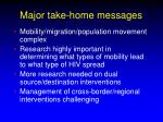 major take home messages
