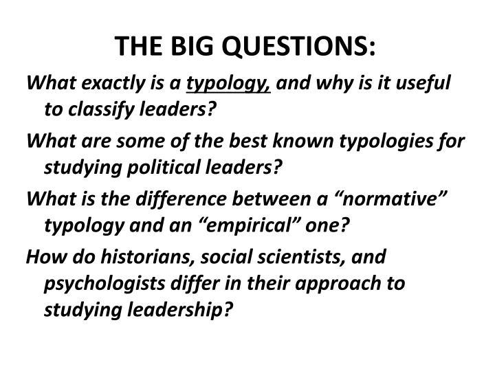 THE BIG QUESTIONS: