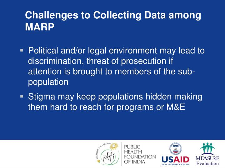 Challenges to Collecting Data among MARP