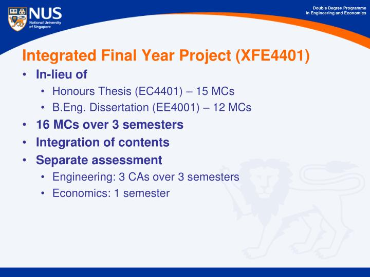 Integrated Final Year Project (XFE4401)