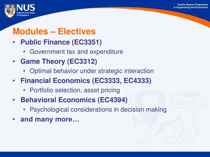 Modules – Electives