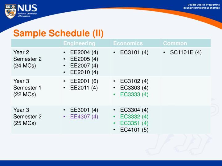 Sample Schedule (II)