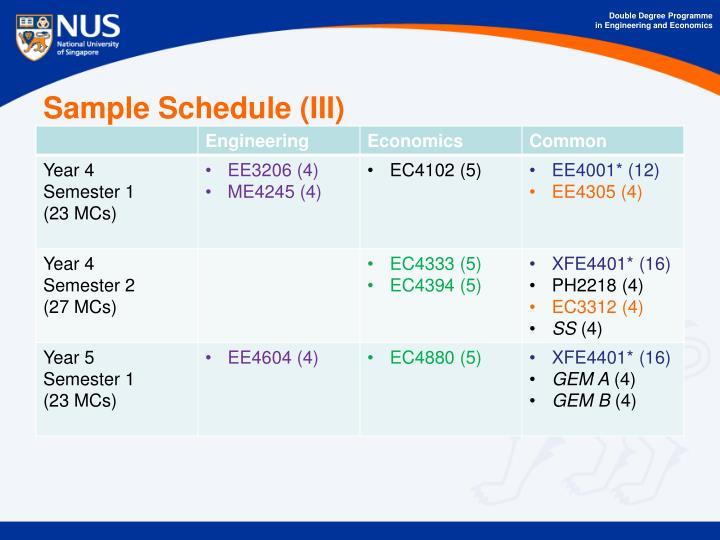 Sample Schedule (III)