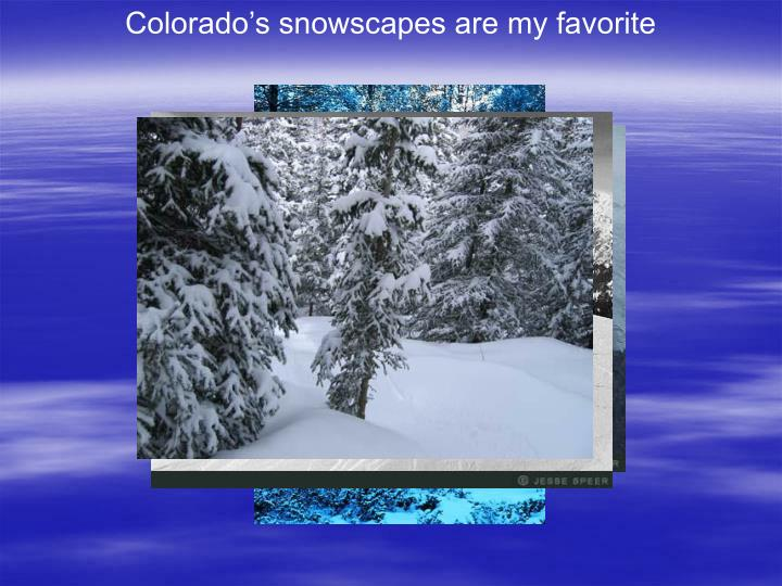 Colorado's snowscapes are my favorite