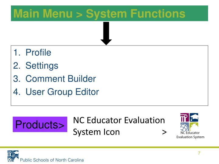 Main Menu > System Functions