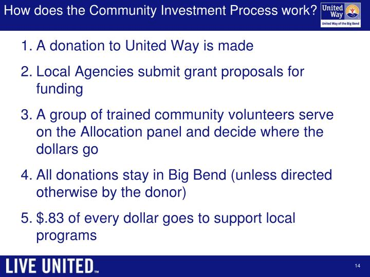 How does the Community Investment Process work?