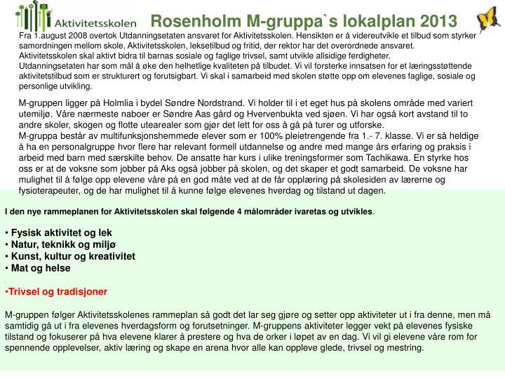 Rosenholm M-gruppa`s