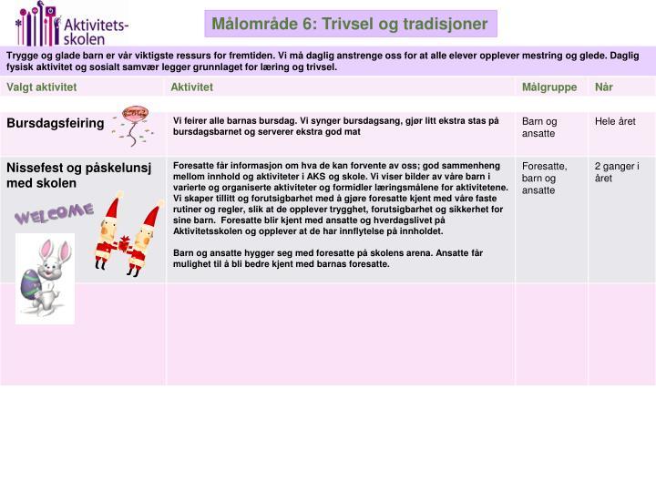 Målområde 6: Trivsel og tradisjoner
