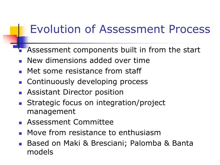 Evolution of Assessment Process