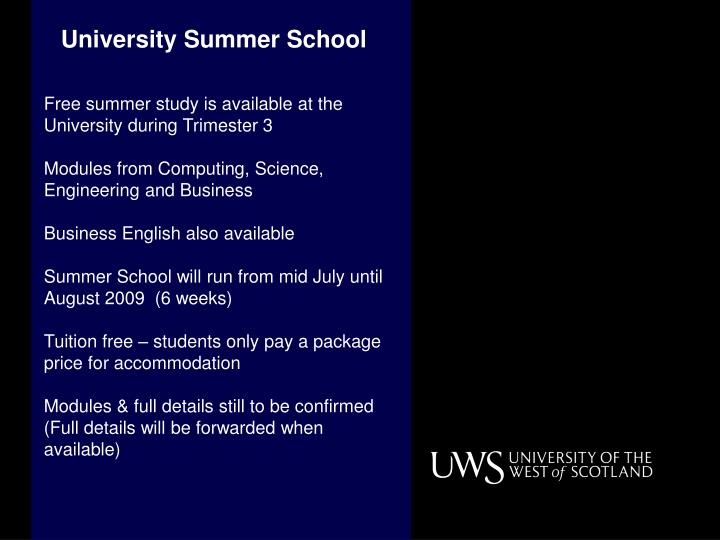 University Summer School