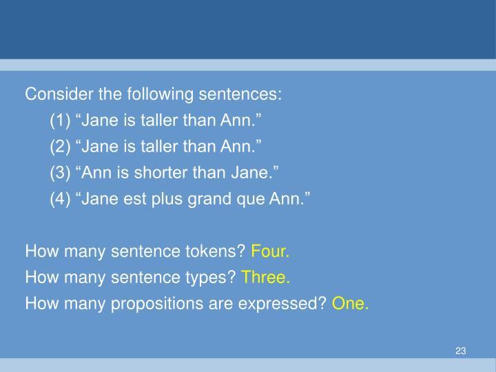 Consider the following sentences: