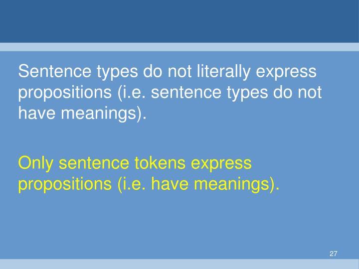 Sentence types do not literally express propositions (i.e. sentence types do not have meanings).