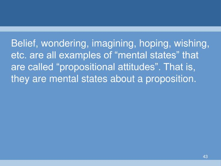 """Belief, wondering, imagining, hoping, wishing, etc. are all examples of """"mental states"""" that are called """"propositional attitudes"""". That is, they are mental states about a proposition."""