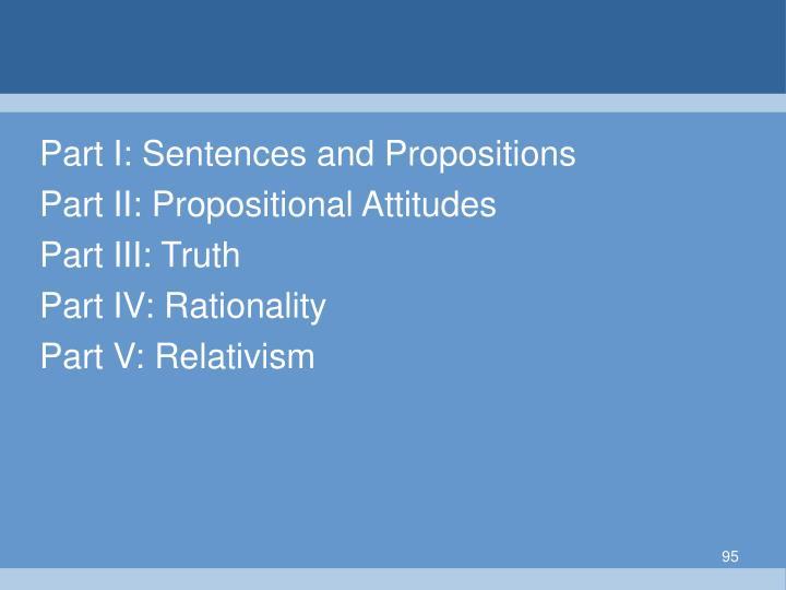 Part I: Sentences and Propositions