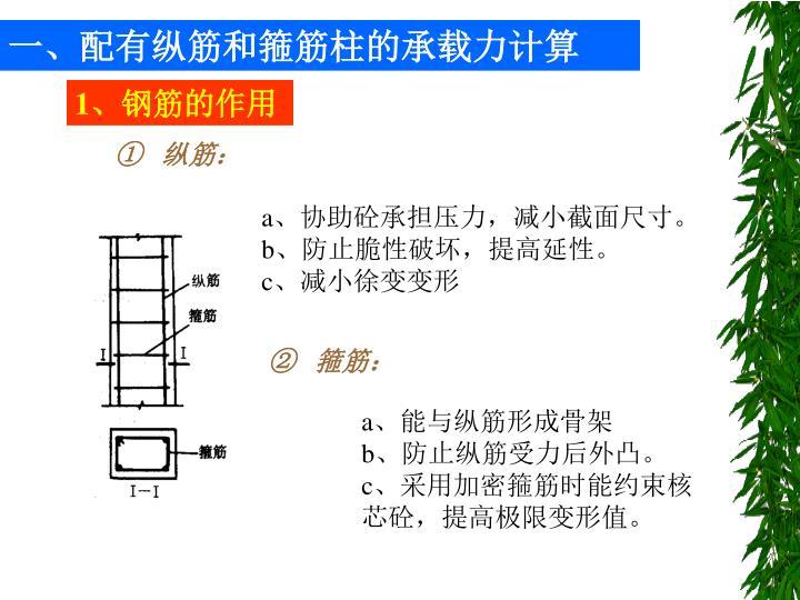 一、配有纵筋和箍筋柱的承载力计算