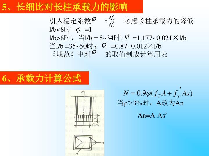 5、长细比对长柱承载力的影响