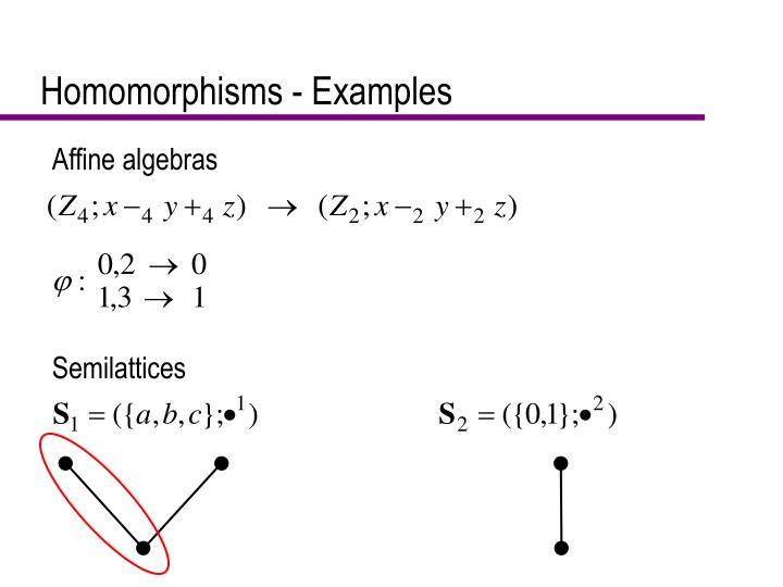 Homomorphisms - Examples