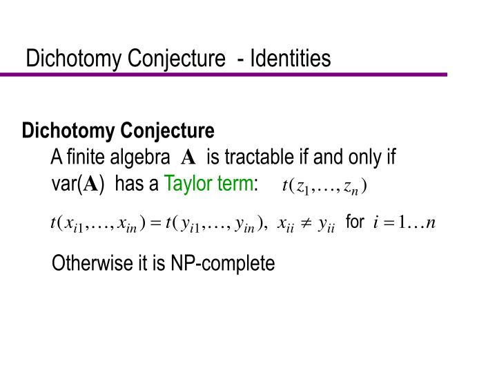 Dichotomy Conjecture