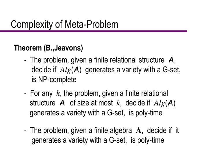 Complexity of Meta-Problem