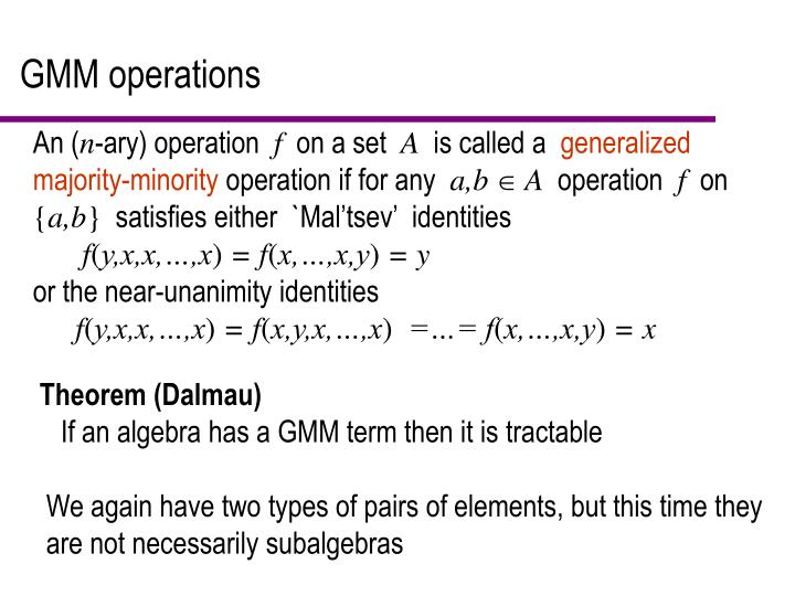 GMM operations