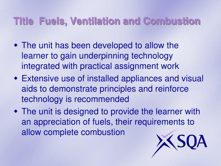 Title fuels ventilation and combustion