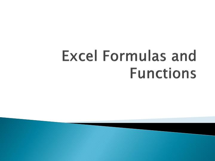 excel formulas and functions n.