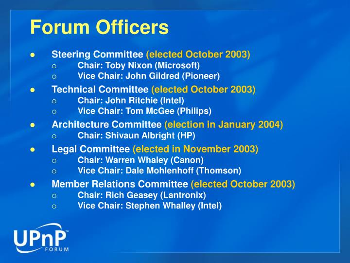 Forum Officers