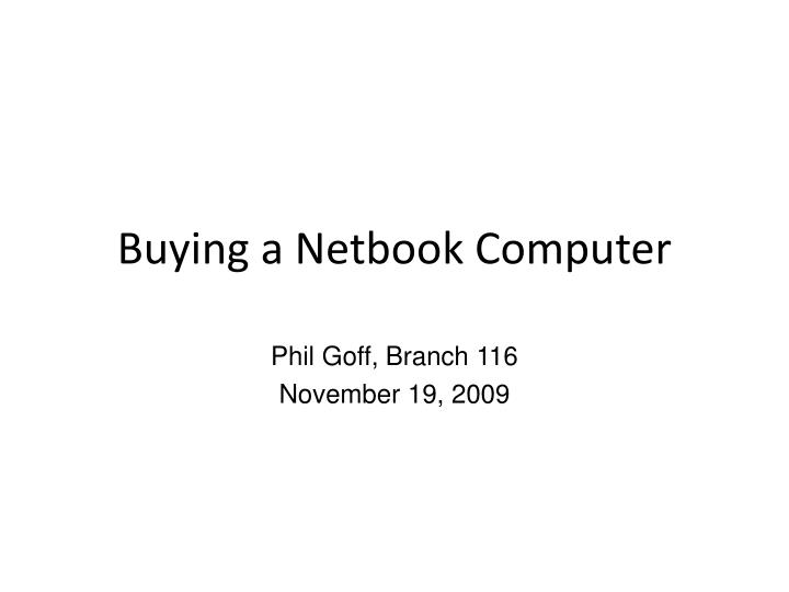 Buying a netbook computer