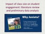 impact of class size on student engagement literature review and preliminary data analysis
