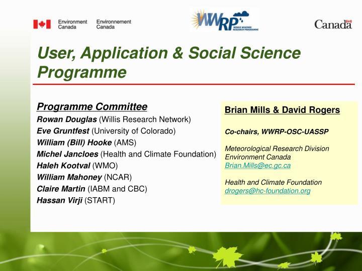user application social science programme n.