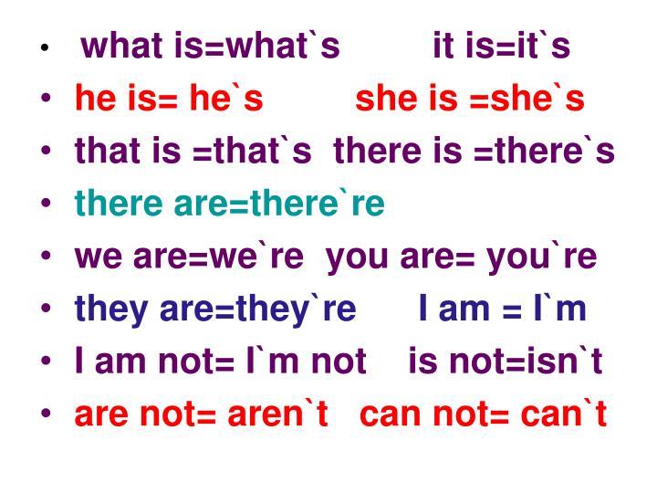 what is=what`s         it is=it`s