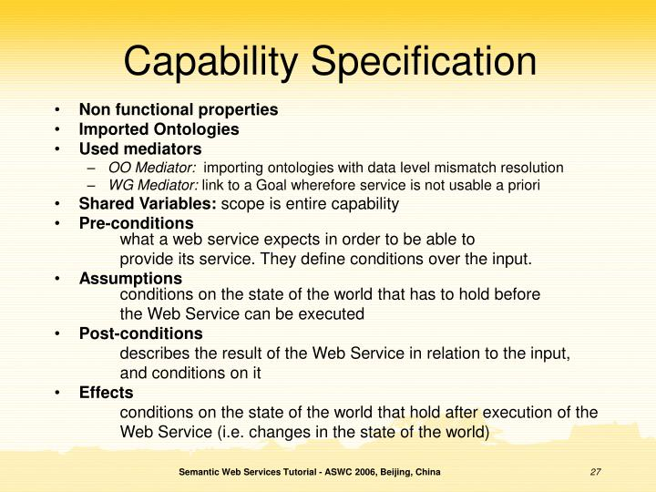 Capability Specification